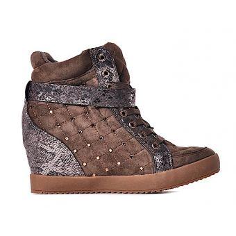 Taupe pikowane sneakersy z kryształkami