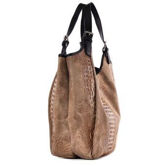 Beżowa torba skórzana na ramię worek Saffiro