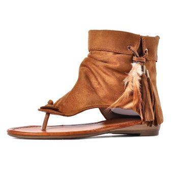 Sandałki damskie z wysoką cholewką boho styl