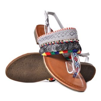 Sandały damskie na płaskiej podeszwie popielate