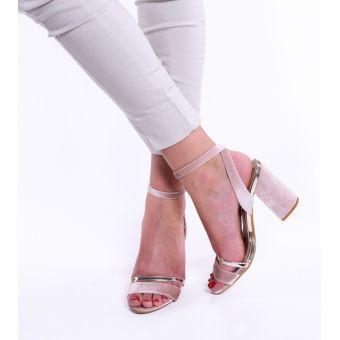 Zamszowe sandały damskie na słupku różowe