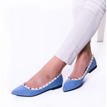 Niebieskie baleriny damskie w szpic