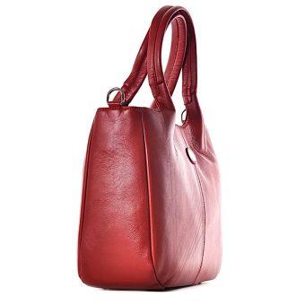 Skórzana torba na laptopa damska czerwona