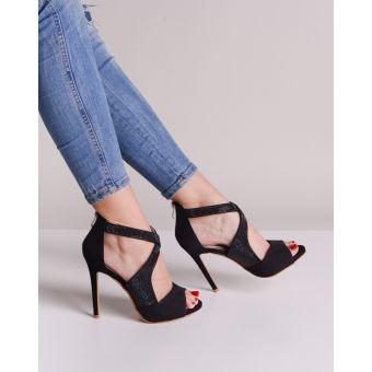 Czarne eleganckie sandały damskie wieczorowe