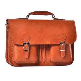 Męska torba na laptopa skórzana brązowa