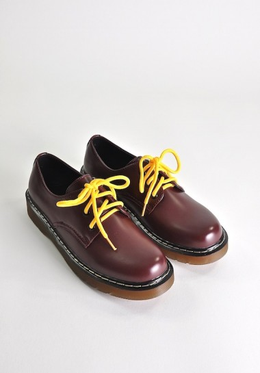 Bordowe buty damskie glany