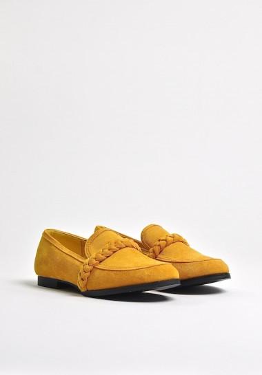 Żółte mokasyny damskie