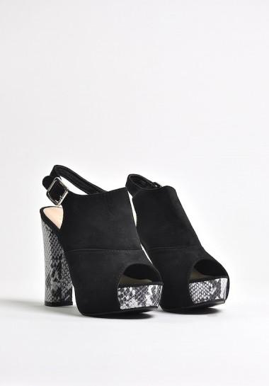 Czarne sandały na platformie Snake