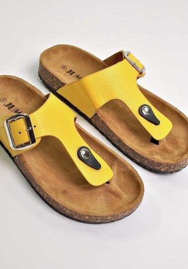 Żółte klapki damskie japonki