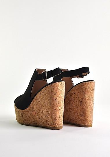 Czarne buty damskie na koturnie sandały
