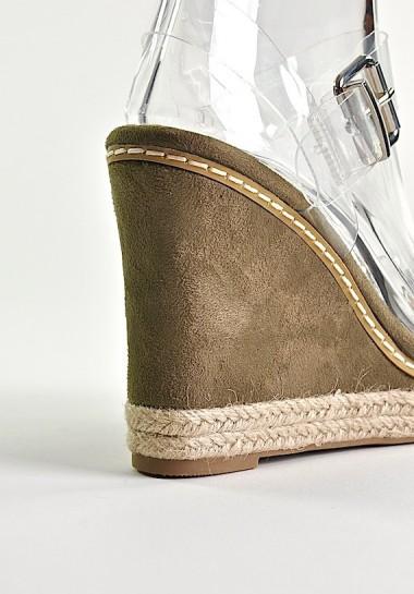 Sandały na koturnie z transparentnymi paskami