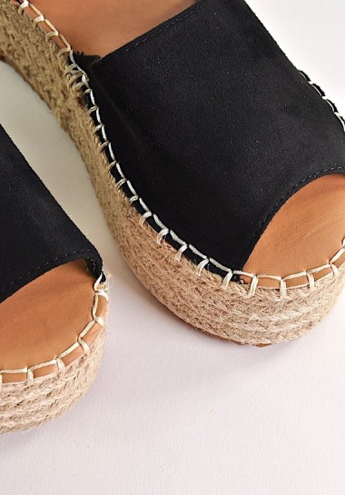 Czarne buty damskie espadryle na platformie