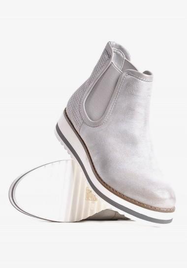 Srebrne buty damskie sztyblety