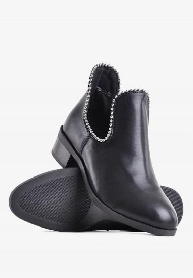 Czarne botki damskie płaskie