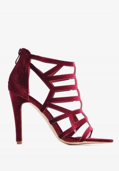 Bordowe szpilki sandały ażurowe