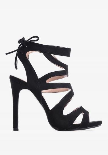 Czarne zamszowe sandały damskie na szpilce wiązane
