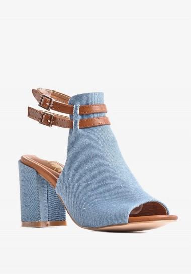 Dżinsowe sandały damskie na słupku