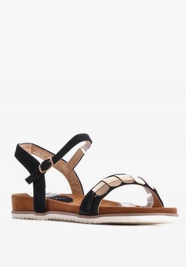 Czarne sandałki damskie płaskie