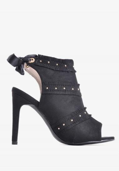 Eleganckie czarne sandały damskie na obcasie
