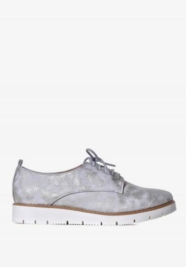 Srebrne buty damskie sznurowane półbuty