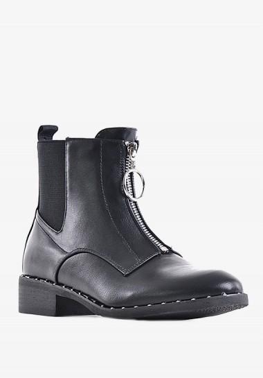 Płaskie botki damskie czarne