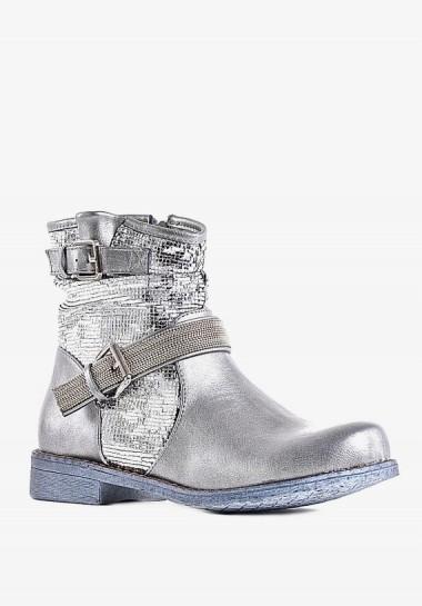 Eleganckie botki na niskim obcasie srebrne