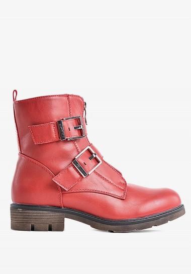 Zimowe buty damskie czerwone