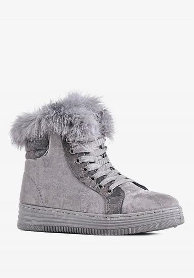 Szare buty damskie zimowe