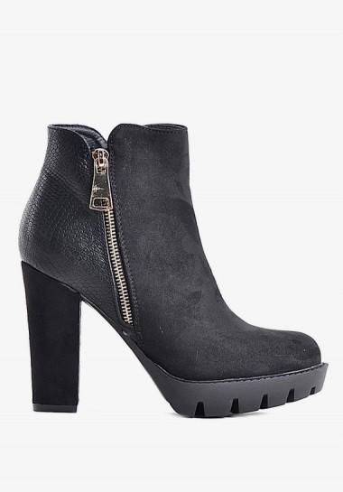 Zimowe buty damskie czarne botki