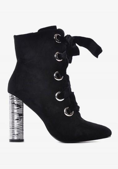Czarne botki na srebrnym obcasie