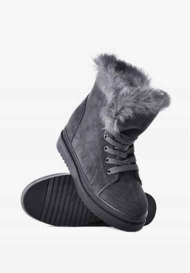 Szare botki damskie na zimę z futerkiem na koturnie