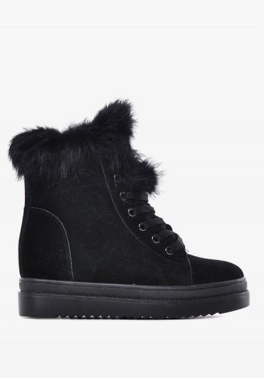 Buty na koturnie czarne sznurowane