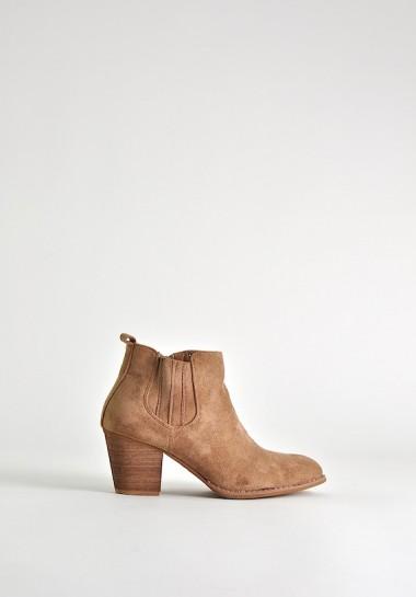 Beżowe botki damskie kowbojki