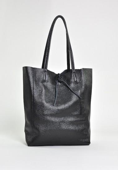 Czarna torebka damska shopper skórzana na ramię