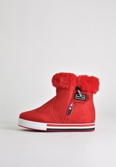 Czerwone botki zimowe