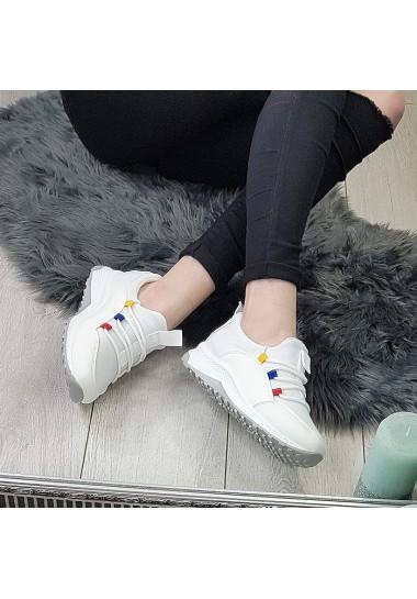 Sportowe białe na koturnie - adidasy