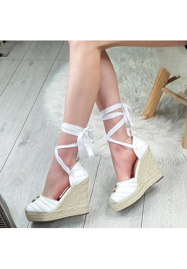 Białe koturny sandały espadryle wiązane na kostkę Coco