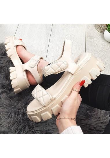 Beżowe pikowane sandały na modnej platformie
