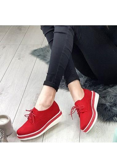 Wiązane czerwone zamszowe krótkie botki