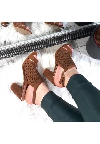 Brązowe sandały na szerszym obcasie