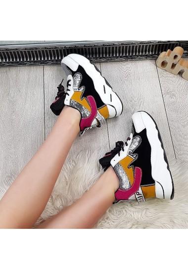 Kobiece kolorowe sneakersy na koturnie