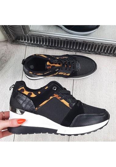 Czarne adidasy na koturnie z panterkową wstawką