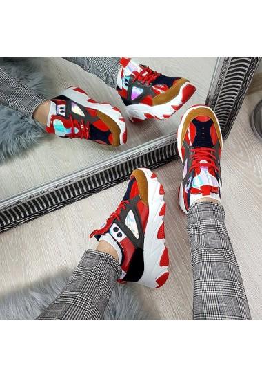 Sneakersy w kolorze czerwonym z kolorowymi wstawkami