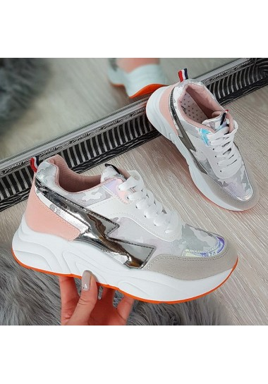 Biało srebrne stylowe adidasy