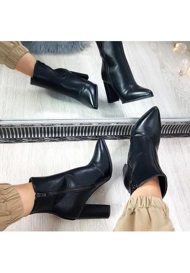 Czarne kobiece botki na słupku