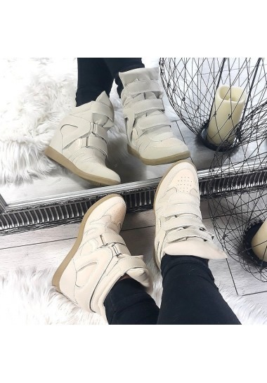 Beżowe sneakersy na rzepy