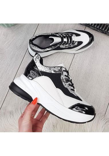 Czarno białe adidasy wężowe dodatki