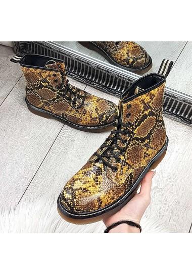 Wężowe botki a'la martensy w odcieniach żółtego