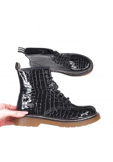 Czarne lakierowane botki aligatorki