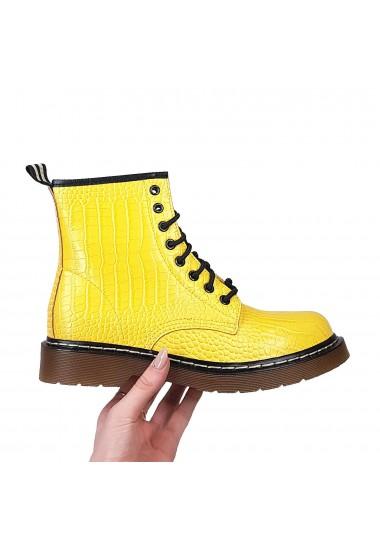 Żółte garbowane botki za kostkę
